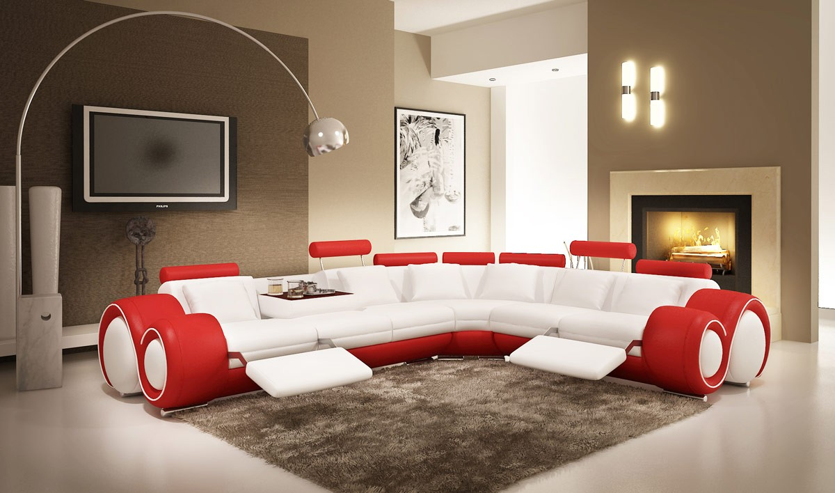 Divani Casa 4087 Modern White and Red Leather Sectional Sofa ...