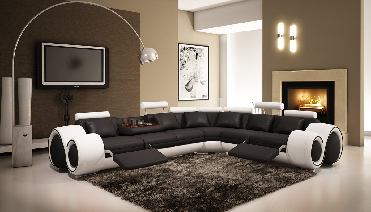 Divani Casa 4087 Modern Black and White Leather Sectional ...