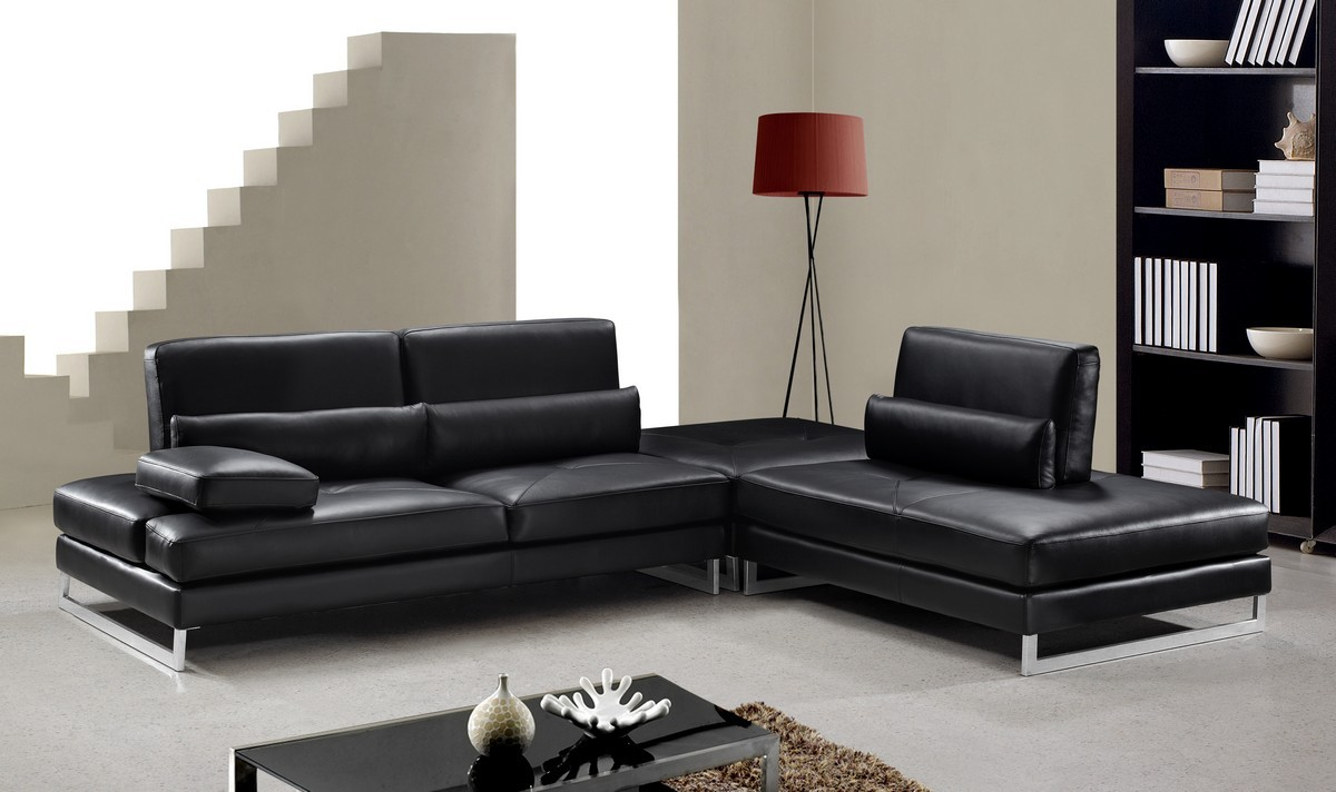 black leather sectional couch Divani Casa Tango   Modern Black Leather Sectional Sofa   Special  black leather sectional couch