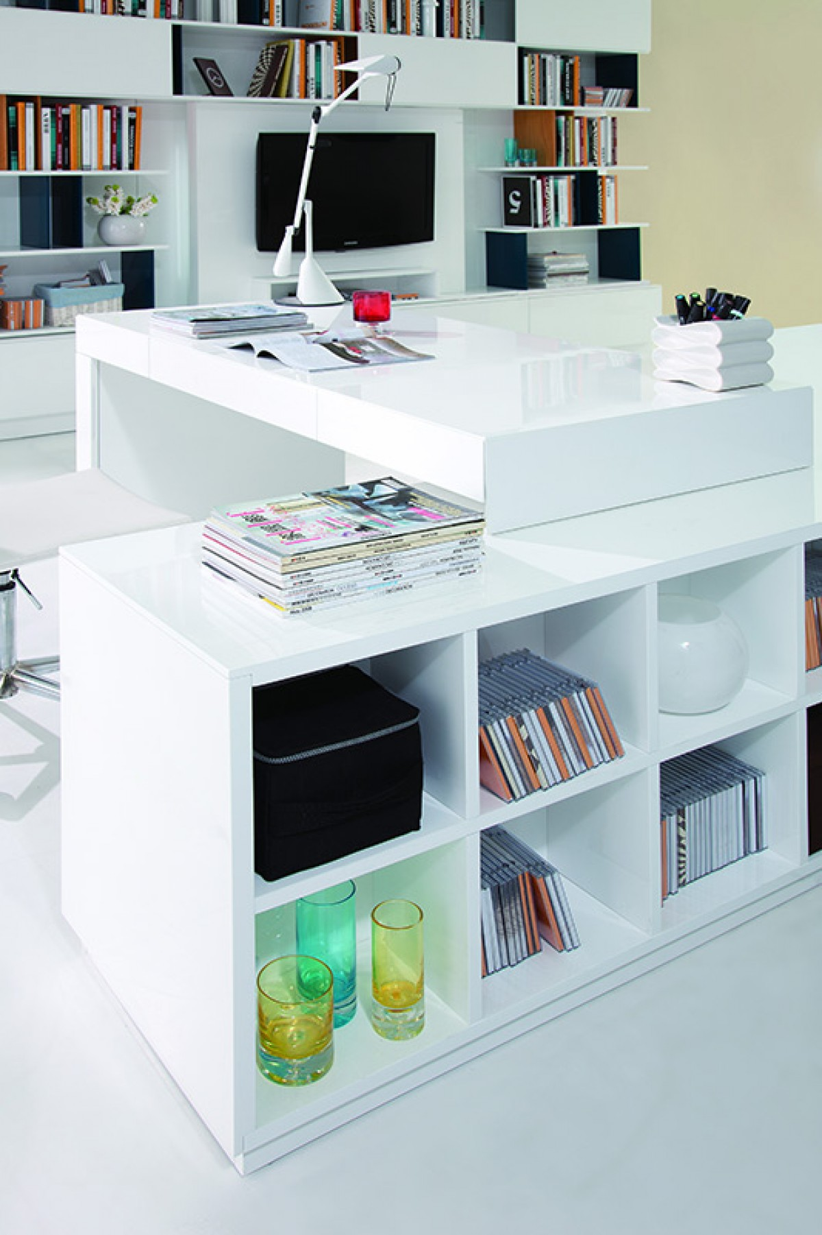 Image of: Modrest Soul Modern Contemporary Office Desk With Attached Cabinet