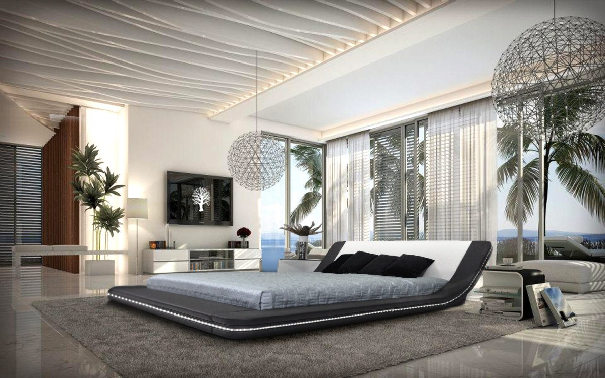 . Marquee   Contemporary Eco Leather Platform Bed with LED Lights