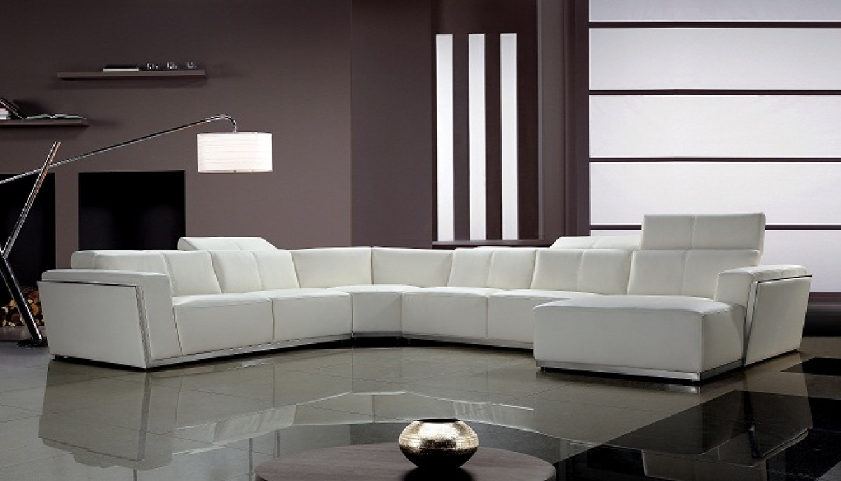 Picture of: Divani Casa Tempo Contemporary Leather Sectional Sofa Sectionals Living Room