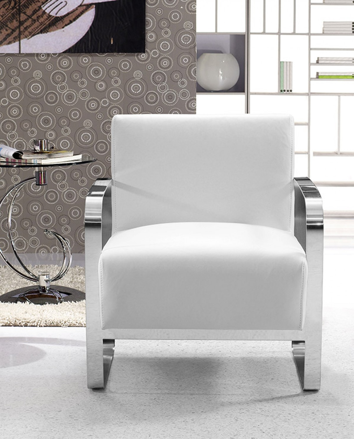 Modern White Leather Lounge Chair