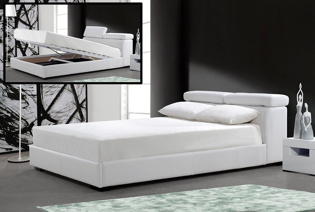 Modrest logan white leatherette bed with storage - Modern queen bed with storage ...