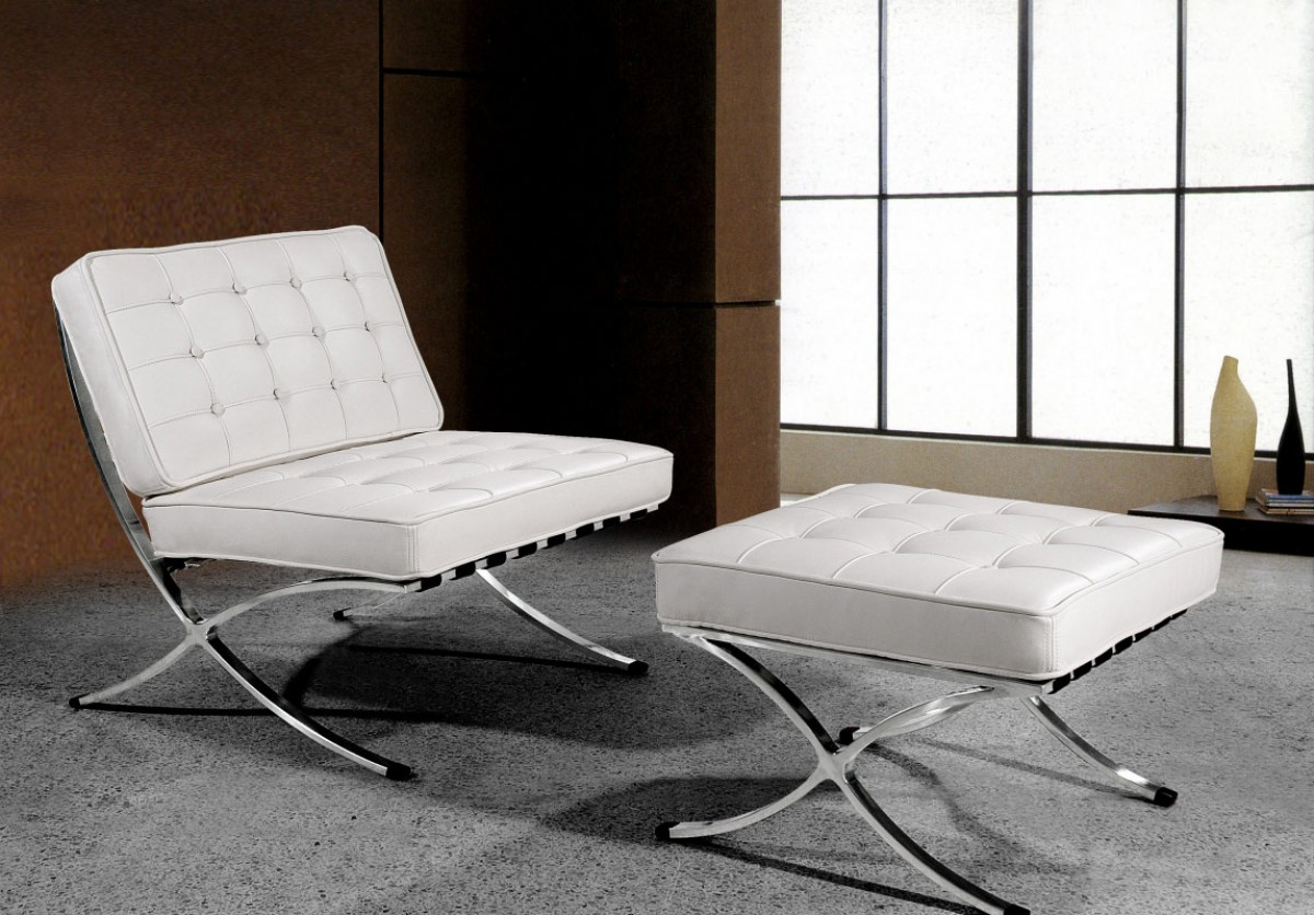 Divani Casa Bellatrix Modern White Leather X Leg Chair Ottoman Lounge Set