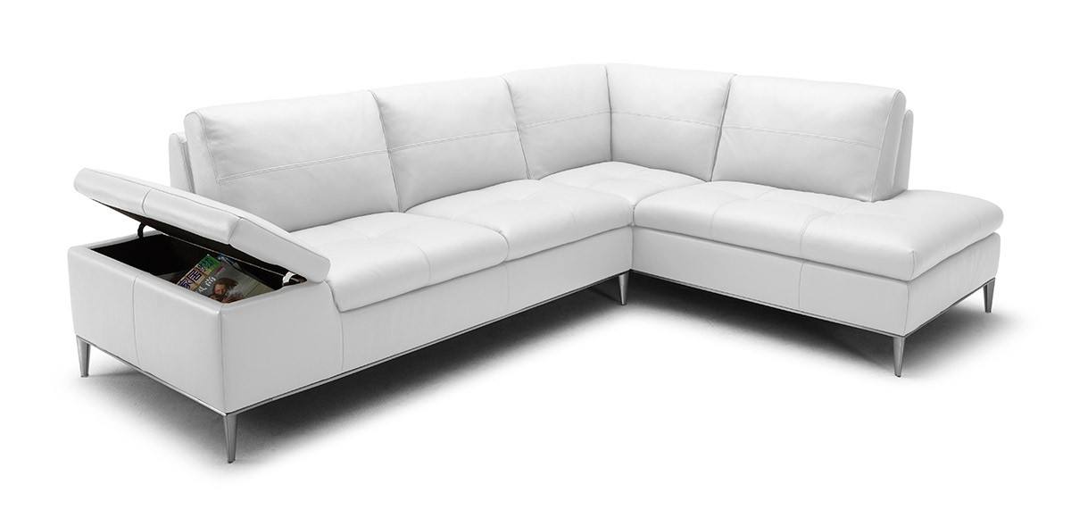 Divani Casa Gardenia Modern White Sectional Sofa With Chaise