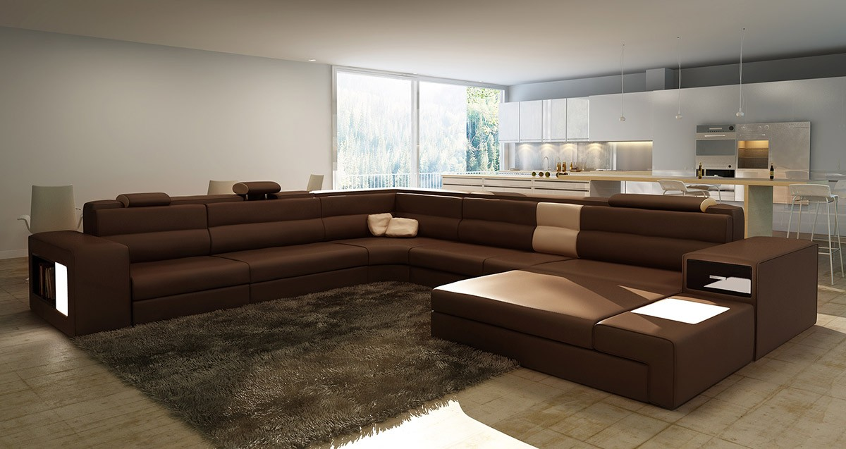 Divani Casa Polaris - Bonded Leather Sectional Sofa in Brown ...
