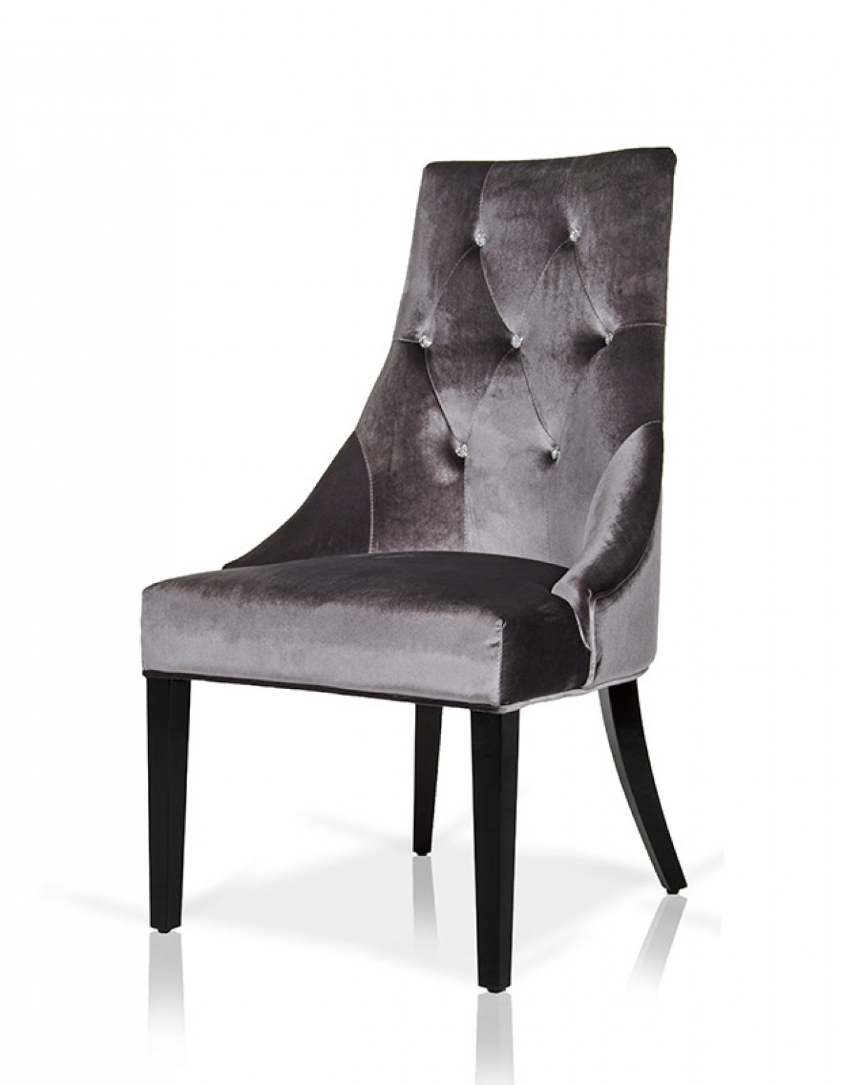 A Amp X Charlotte Grey Velour Dining Chair Set Of 2