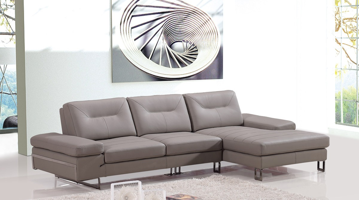 Divani casa camino modern taupe leather sectional sofa for Sofas camino a casa