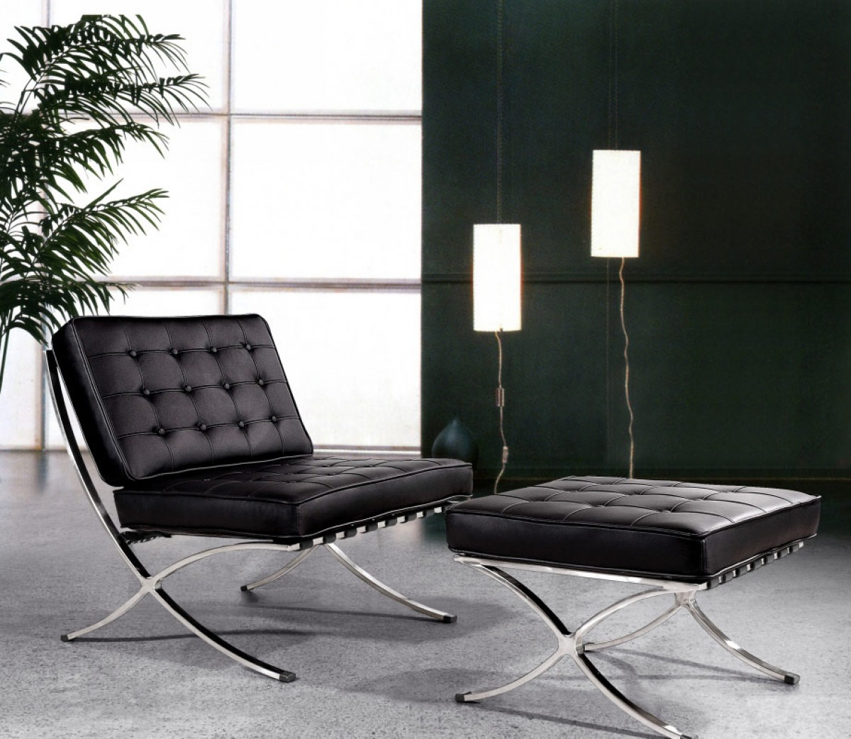Black ottoman chair - Bellatrix Modern Black Leather X Leg Chair And Ottoman Lounge Set