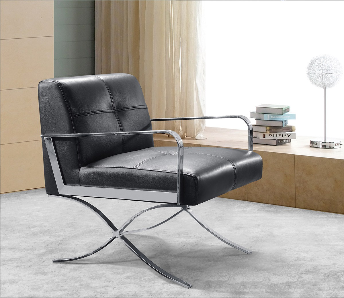 Divani casa delano modern black leather lounge chair for Modern leather club chair