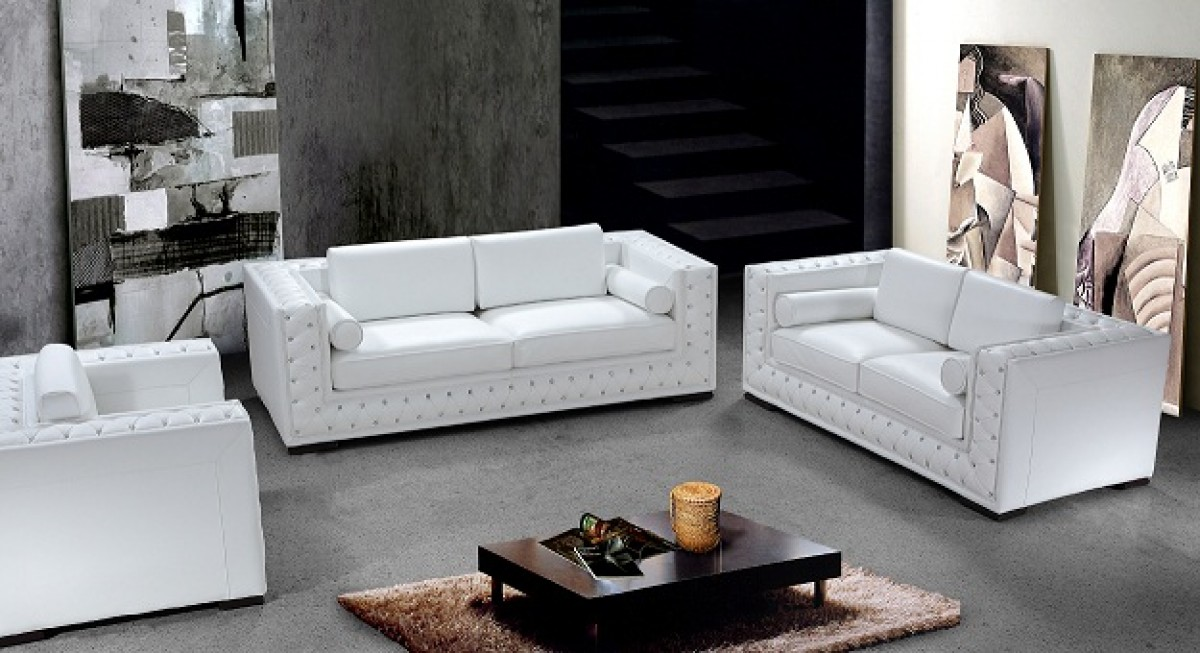 Divani Casa Dublin Modern Leather Sofa Set With Acrylic