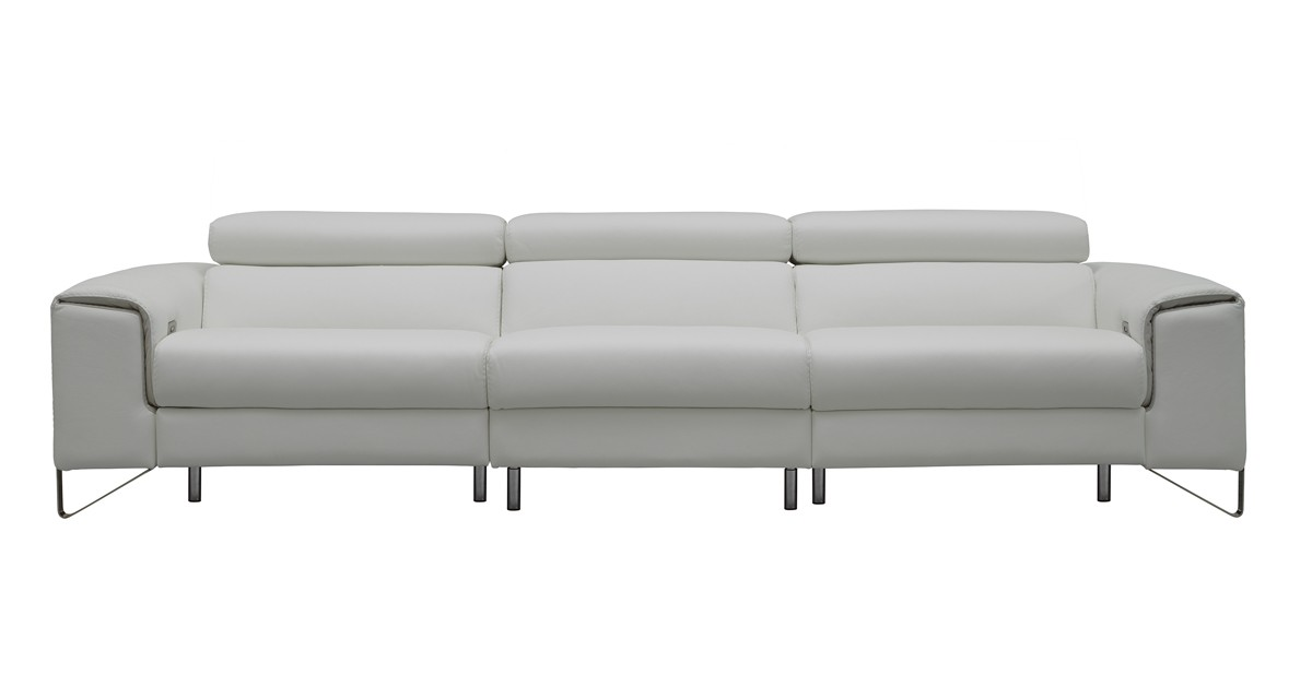 Estro Salotti Elite Italian Modern White Leather Sofa W/ Recliners