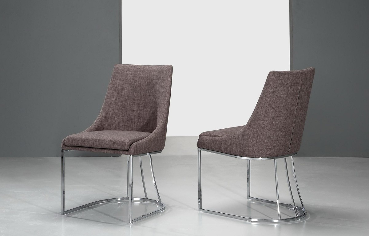 Contemporary fabric chairs - Itasca Modern Grey Fabric Dining Chair Set Of 2