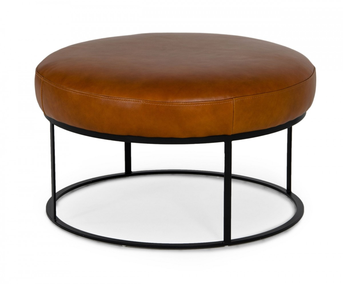 Picture of: Divani Casa Jacoba Modern Camel Leather Round Ottoman