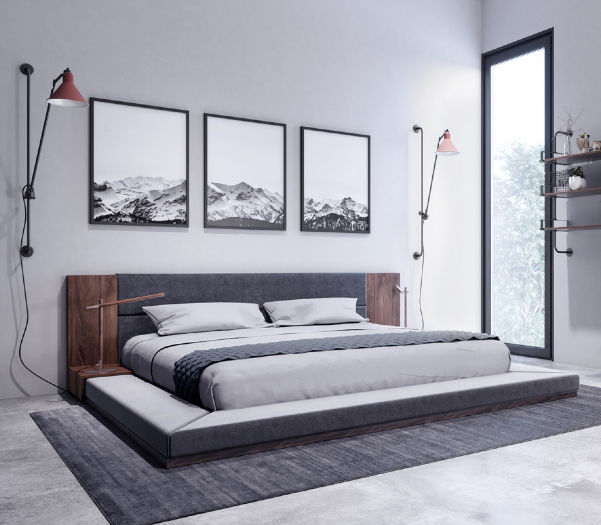 Contemporary Furniture Bed: Nova Domus Jagger Modern Dark Grey & Walnut Bed