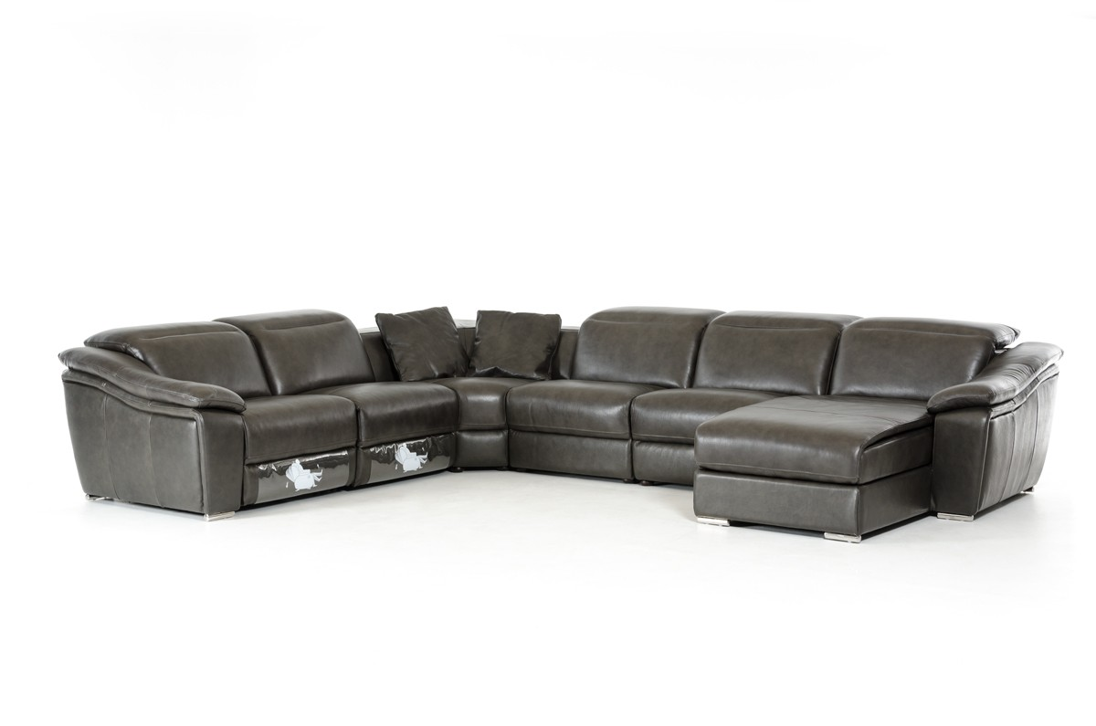 divani casa jasper modern dark grey leather sectional sofa