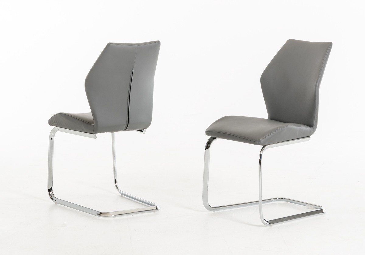 Welles modern grey leatherette dining chair set of 2 for Contemporary furniture dining chairs