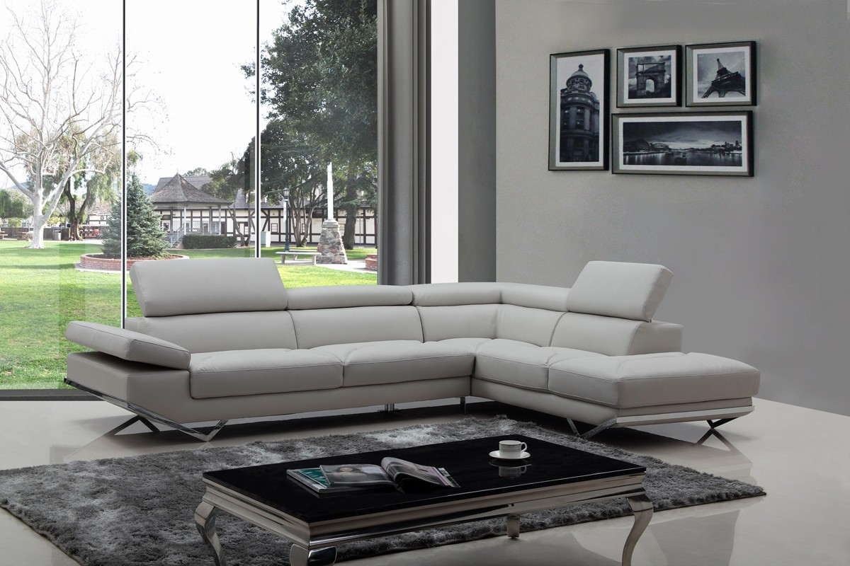 Divani Casa Quebec Modern Light Grey Eco Leather Sectional