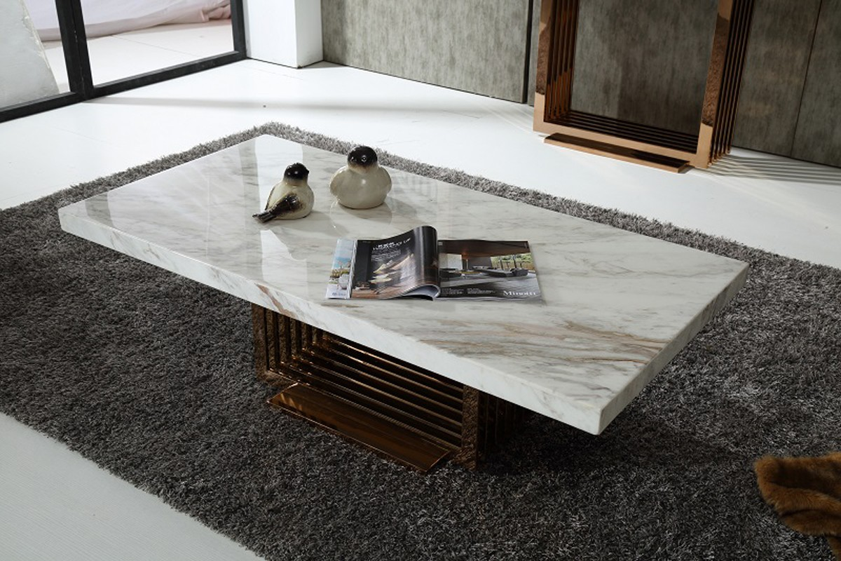 Modrest Kingsley Modern Marble & Rosegold Coffee Table - Coffee ...
