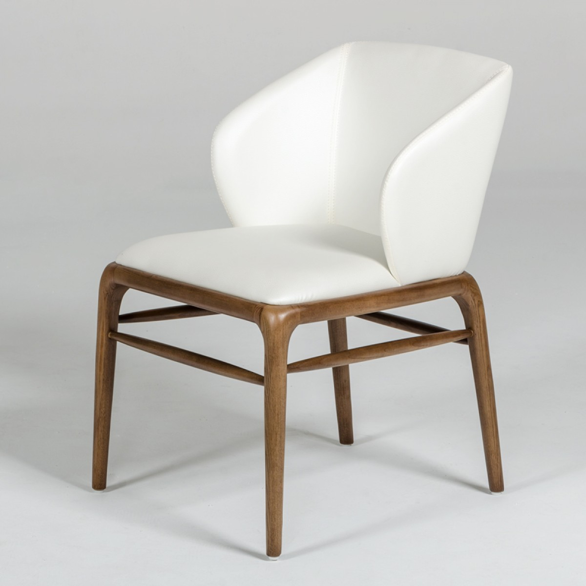 Contemporary Modern Dining Chairs: Modrest Kipling Modern Cream & Walnut Dining Chair