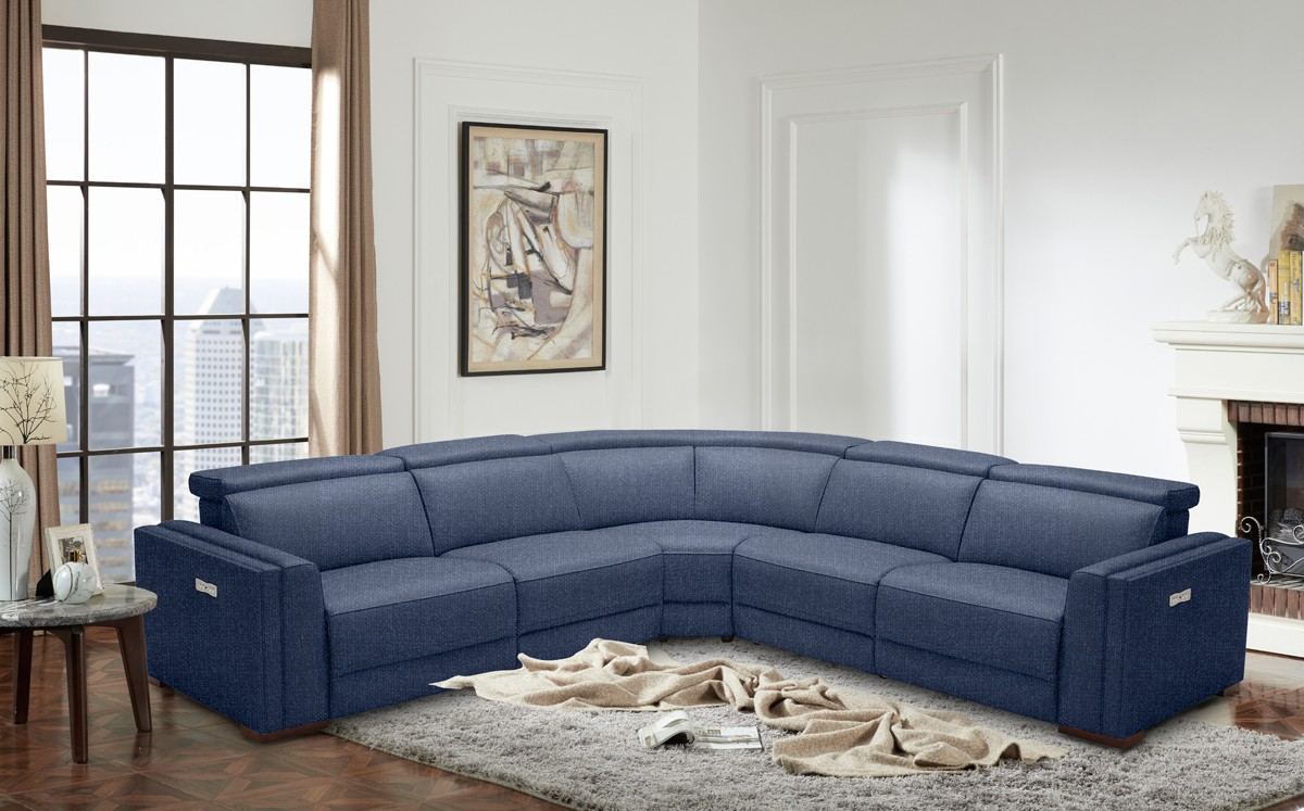 Divani Casa Frazier Modern Blue Fabric Sectional W