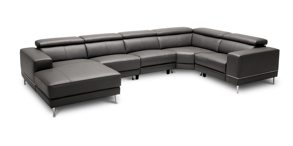 Divani Casa Wade Modern Dark Grey Leather Sectional Sofa W 2 Electric Recliners