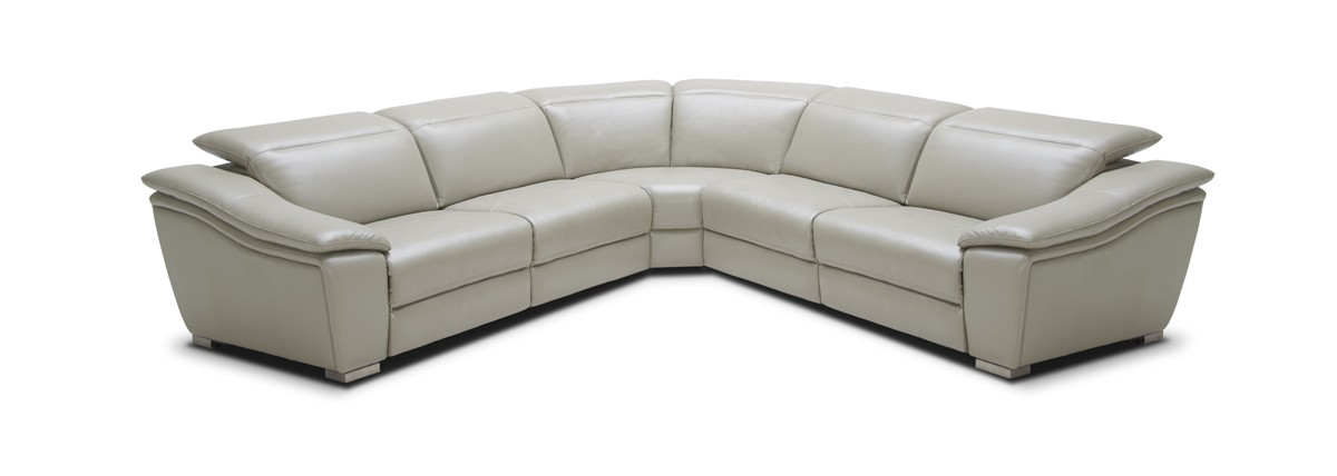 Divani Casa Jase Modern Light Grey Leather Sectional w/ Recliners