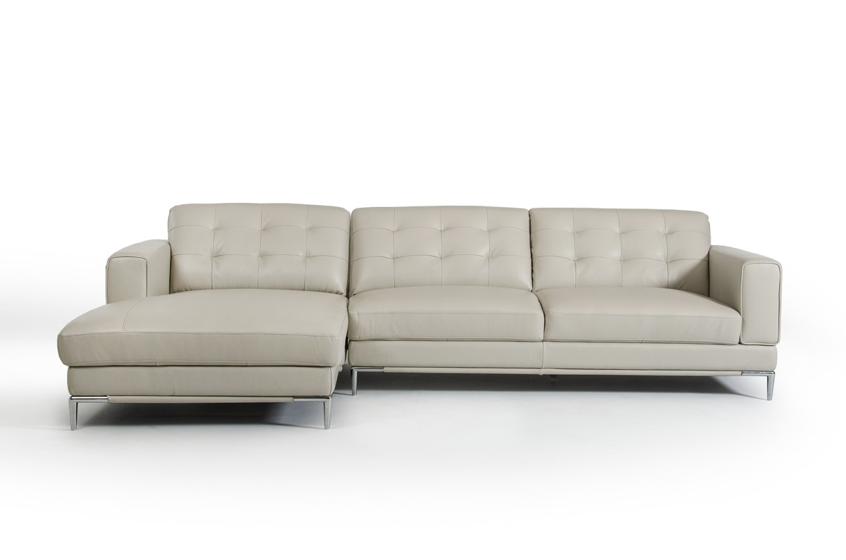 divani casa larkspur modern light grey leather sectional sofa