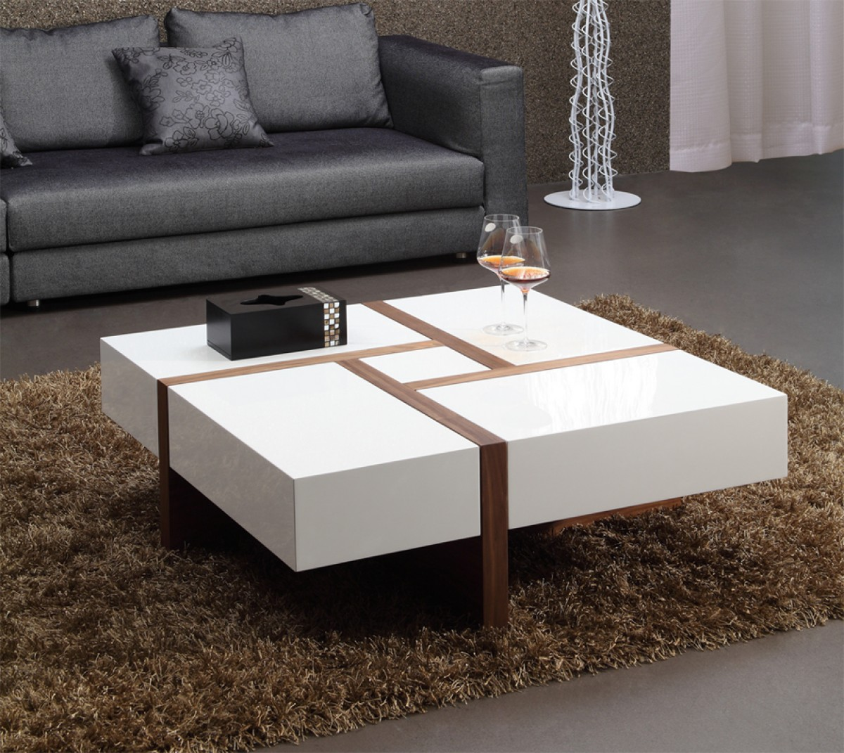 The Most Inspired Unique Contemporary Coffee Tables Ideas: Modrest Makai Modern White & Walnut Square Coffee Table
