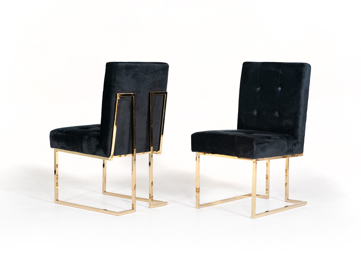 Modrest Legend Modern Black & Gold Dining Chair (Set of 2)