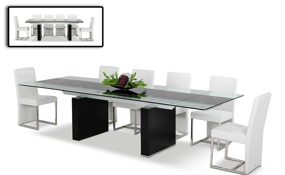 Modrest Lisbon Extendable Gl Dining Table