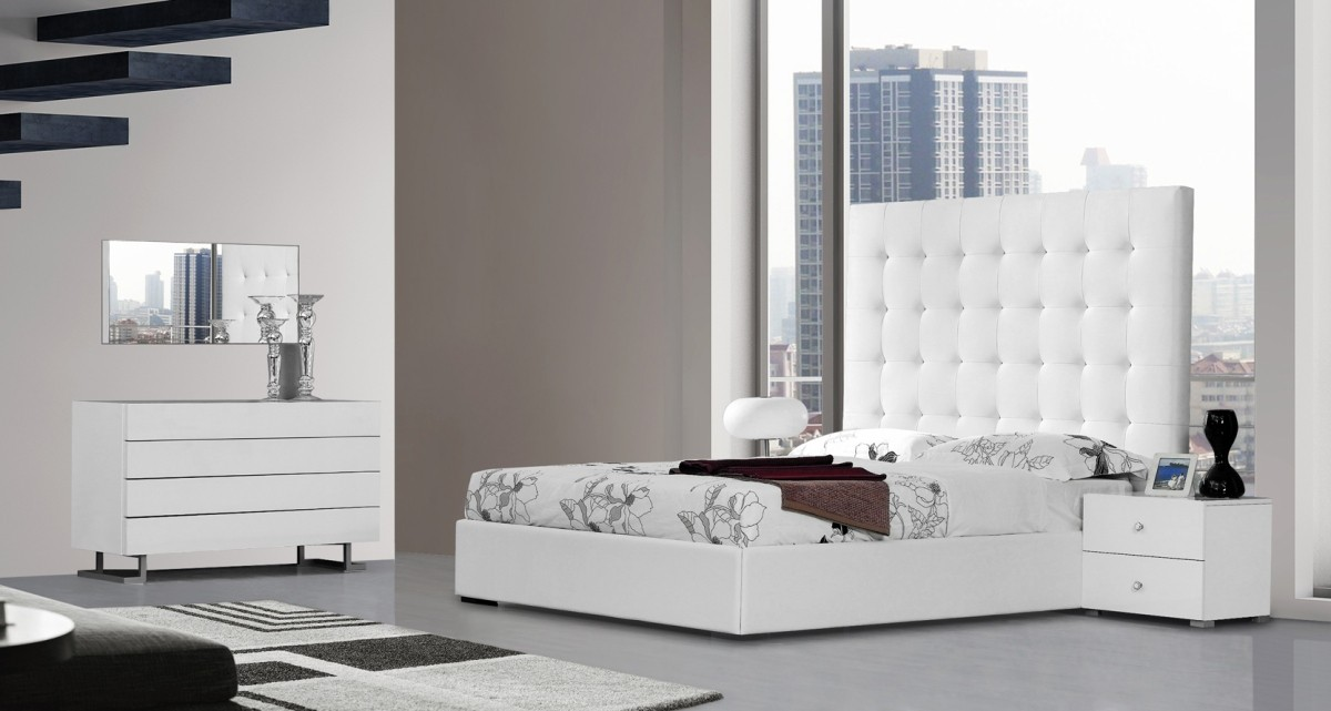 Modrest Lyrica White Leatherette Tall Headboard Bed Beds Bedroom