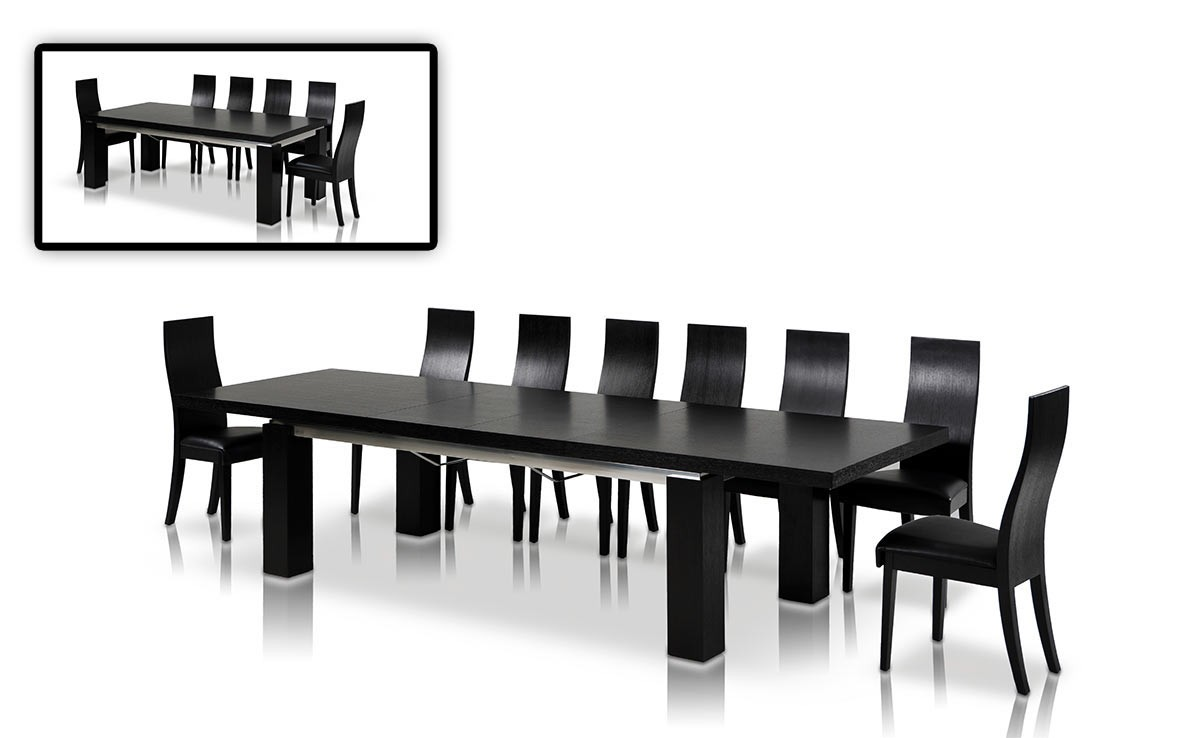 Modrest maxi modern black oak dining table modern dining for Modern black dining table