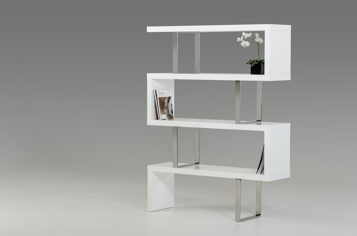Modrest maze modern white high gloss bookcase shelves for Modern living room shelving units