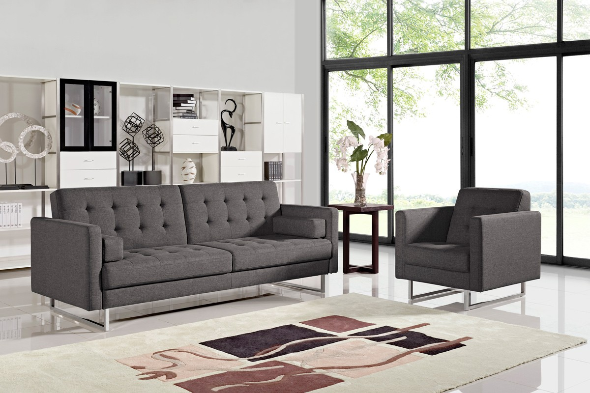 Divani Casa Bauxite Modern Grey Fabric Sofa Bed - Sofa Beds - Living ...