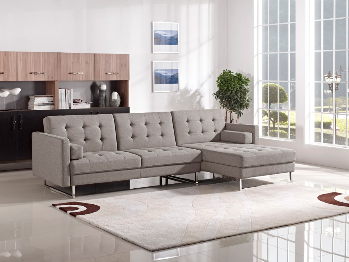 divani casa smith modern brown fabric sectional sofa sofas living room. Black Bedroom Furniture Sets. Home Design Ideas