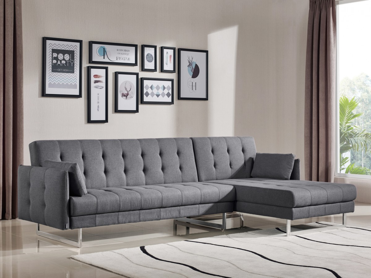Divani casa lennox modern grey fabric sectional sofa bed for B m living room furniture