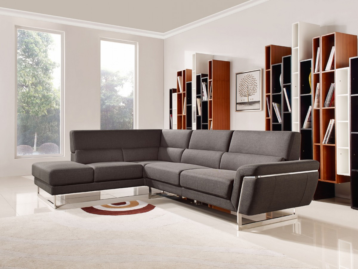 Divani casa navarro modern brown fabric sectional sofa for B m living room furniture