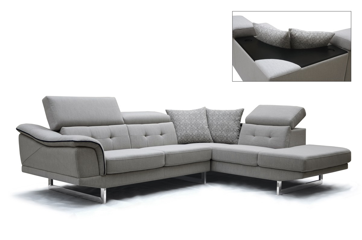 Divani casa gaviota modern grey fabric sectional sofa for Modern living sofa