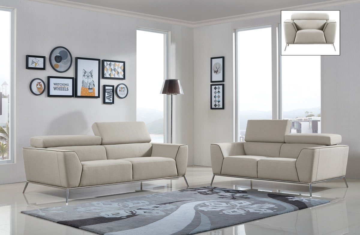 Divani casa velva modern beige brown fabric sofa set for Divani sofa varese