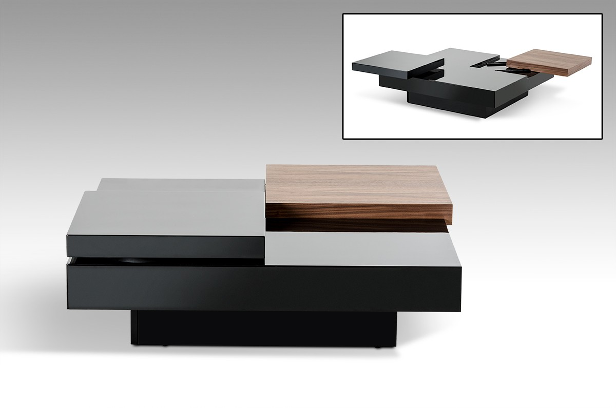 Modrest Ambry Modern Walnut And Black Coffee Table ...