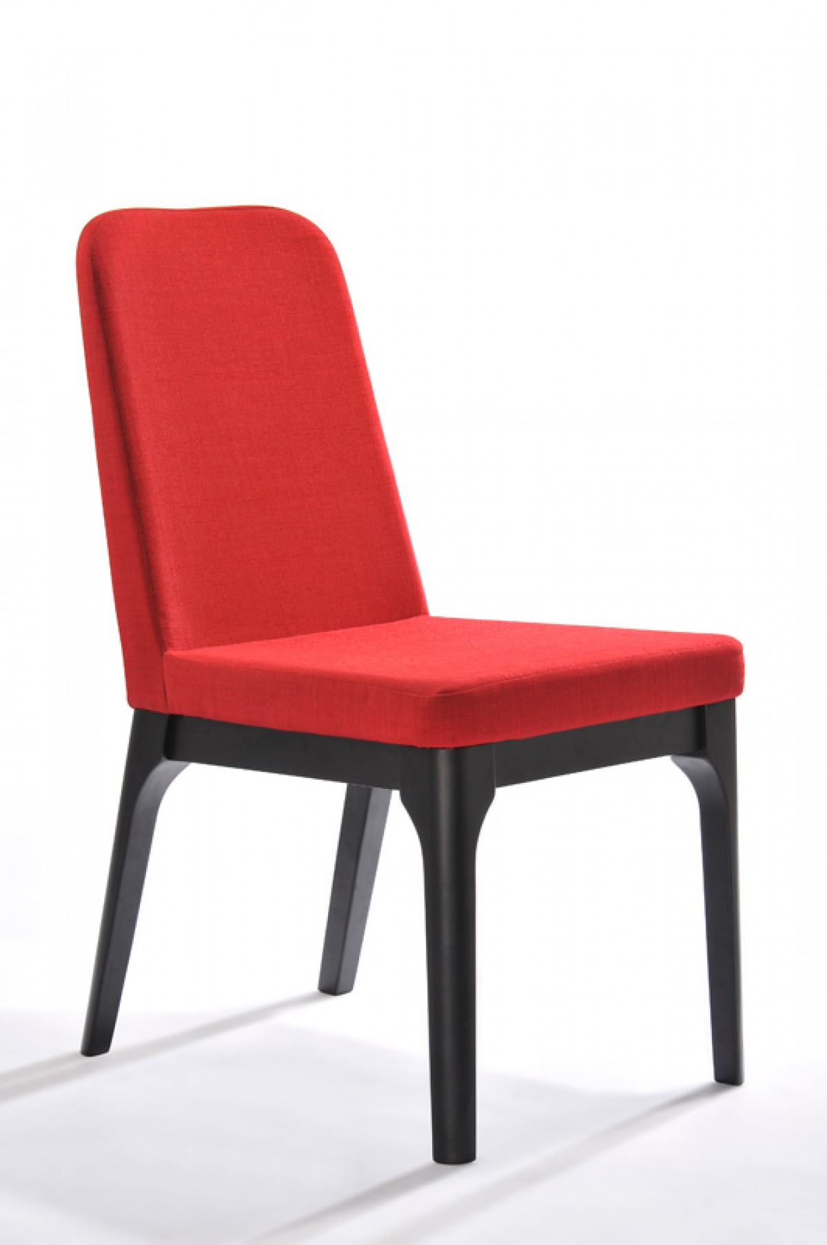 Modrest comet modern red fabric dining chair set of 2 for Red dining room chairs