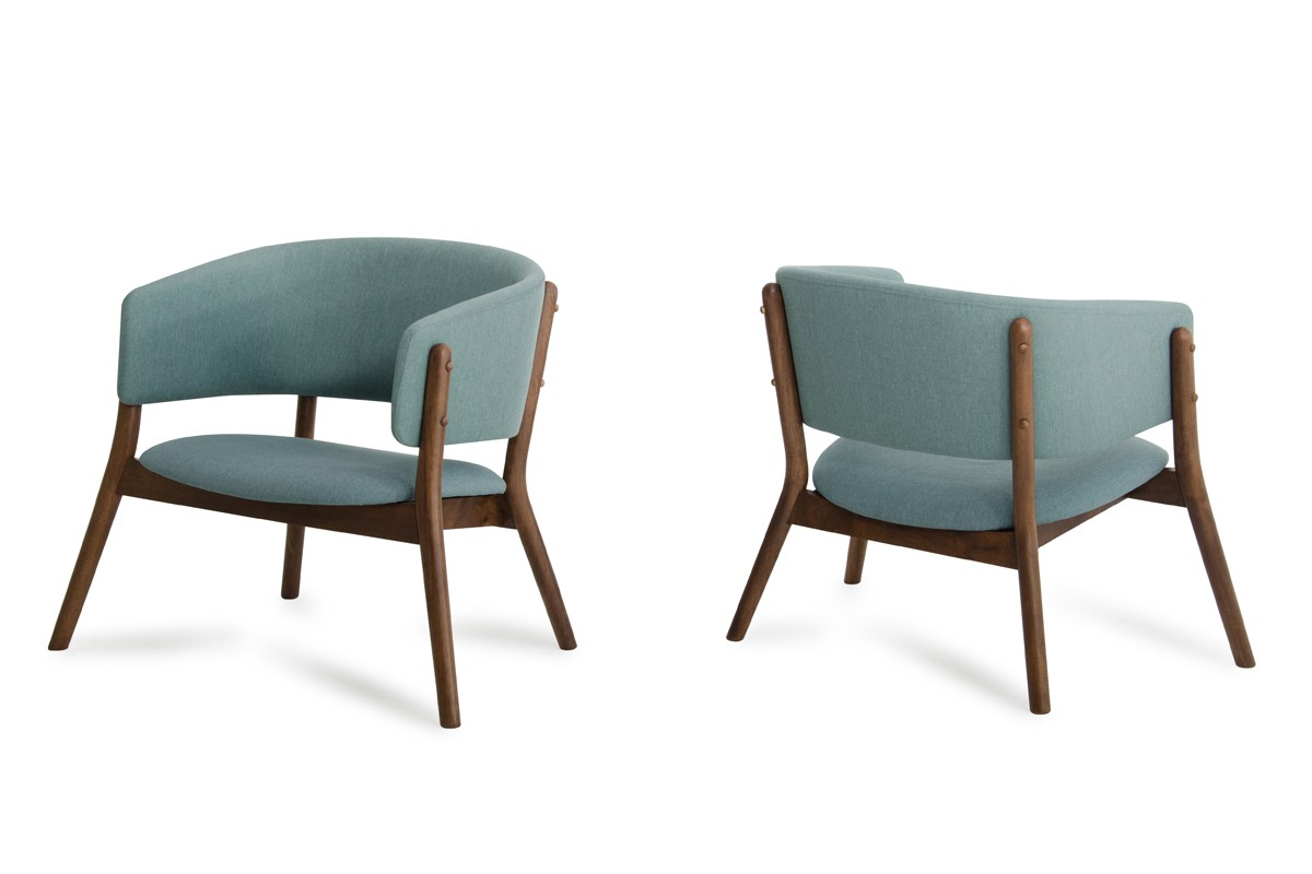 Dante Modern Blue Fabric Amp Walnut Accent Chair Set Of 2