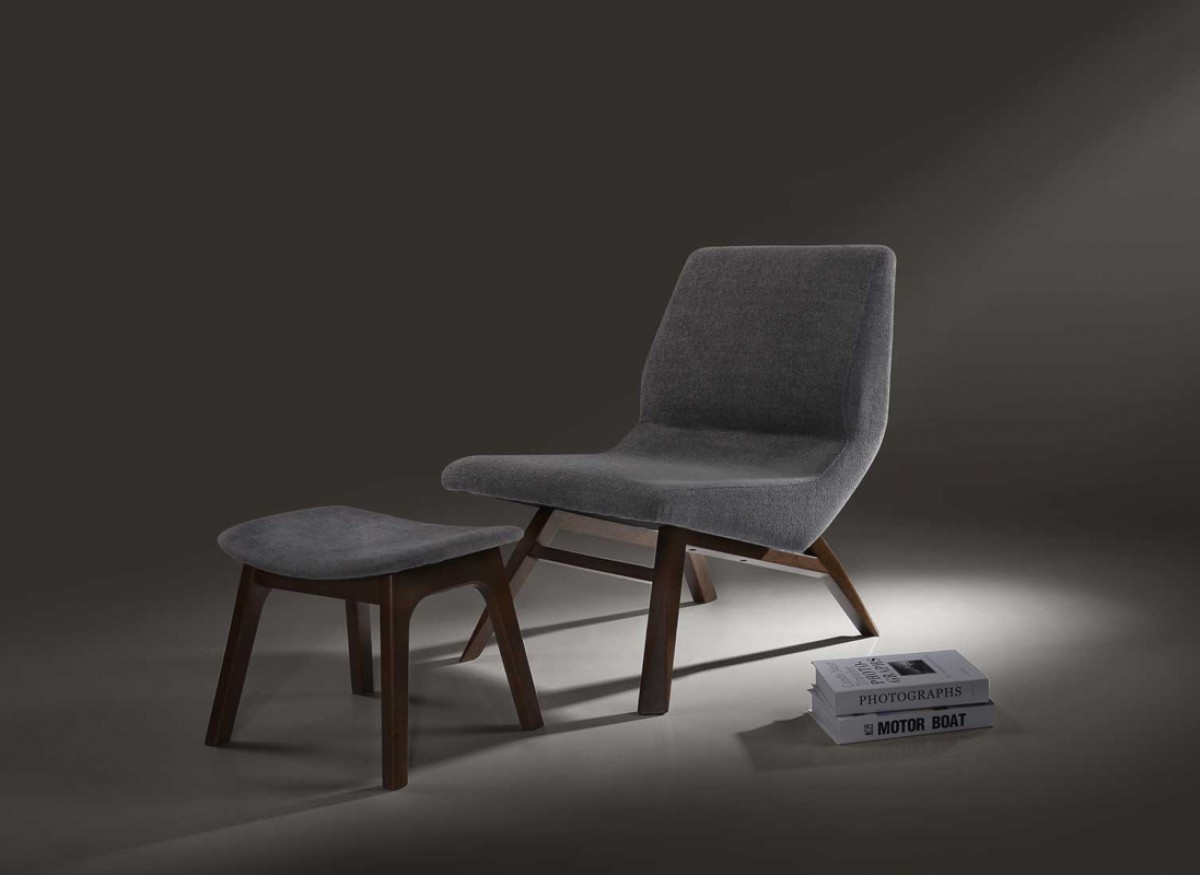 Modrest Whitney Modern Grey & Walnut Accent Chair & Ottoman