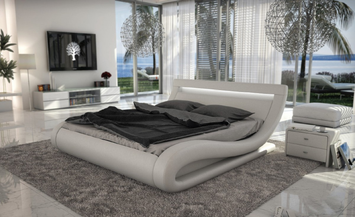 Modrest Corsica - Contemporary White Leatherette Bed with Headboard ...