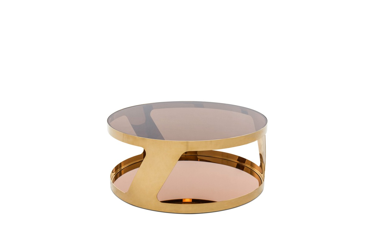Modrest chandon modern round gold coffee table for Furniture tipoi design