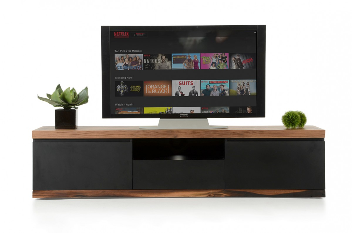 Modrest Norse Modern Black Wood Tv Stand