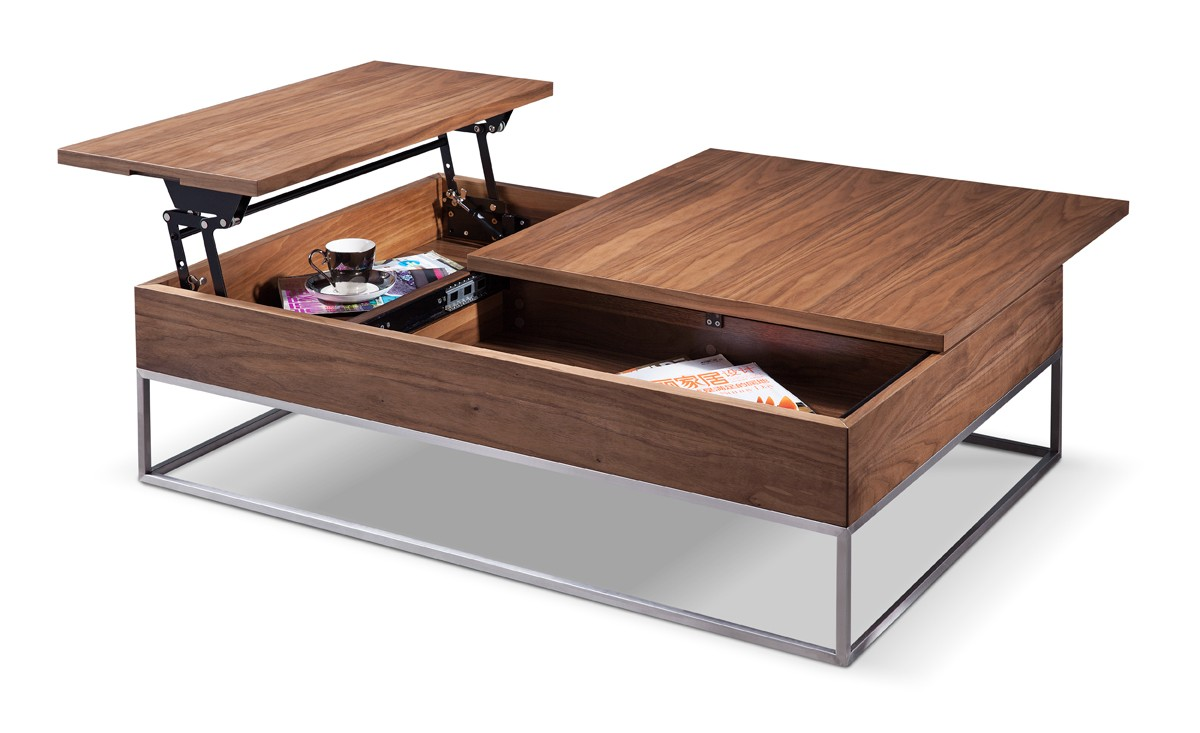 Modrest telson modern walnut coffee table w storage Contemporary coffee tables with storage