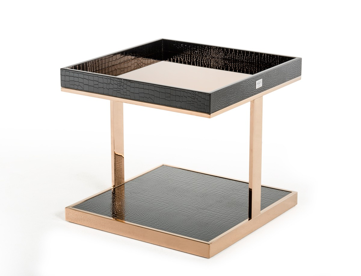 A&X Padua Modern Large Black & Rosegold End Table